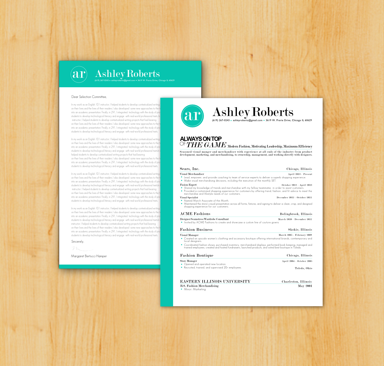 Artsy Resume And Matching Cover Letter