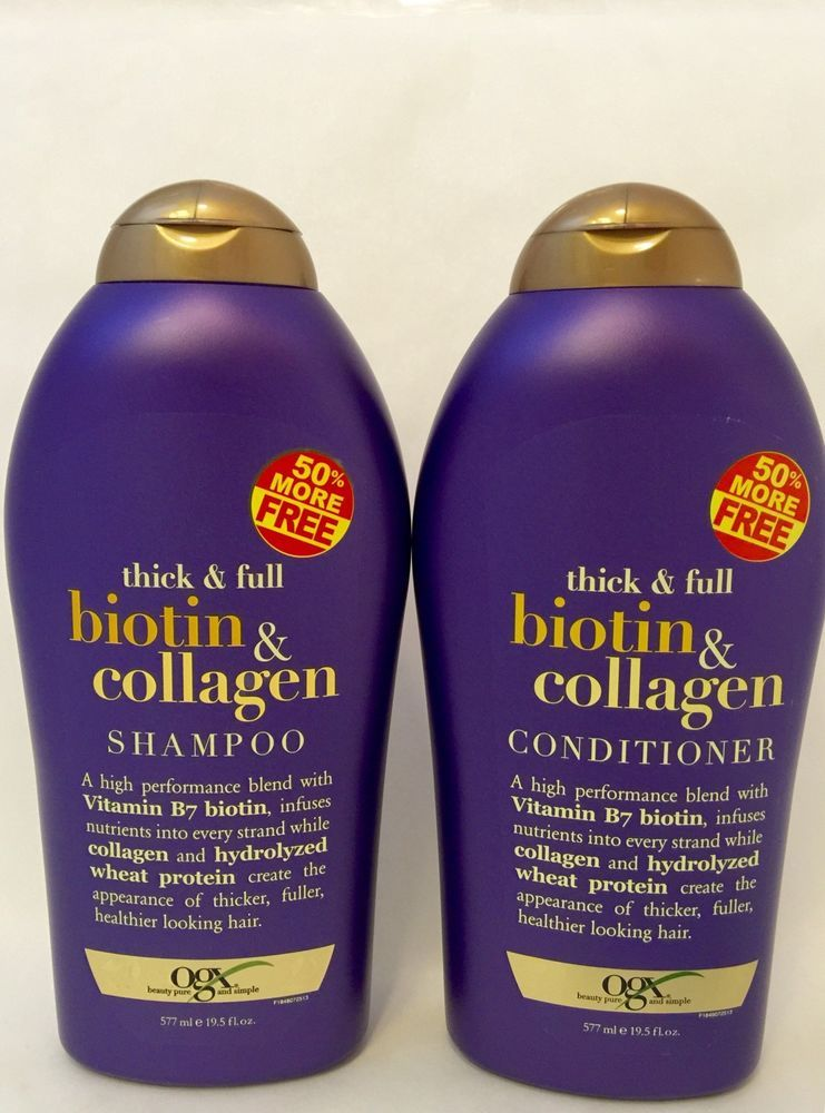 Ogx Thick Full Biotin Collagen Shampoo And Conditioner In 50