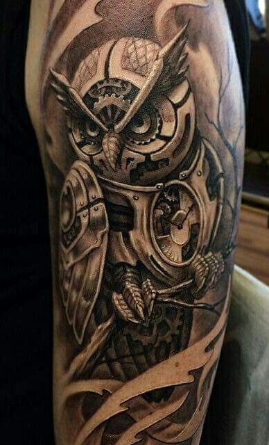 fb13c8387542a Amazing mechanical/Steampunk owl tattoo | Ink | Mens owl tattoo ...