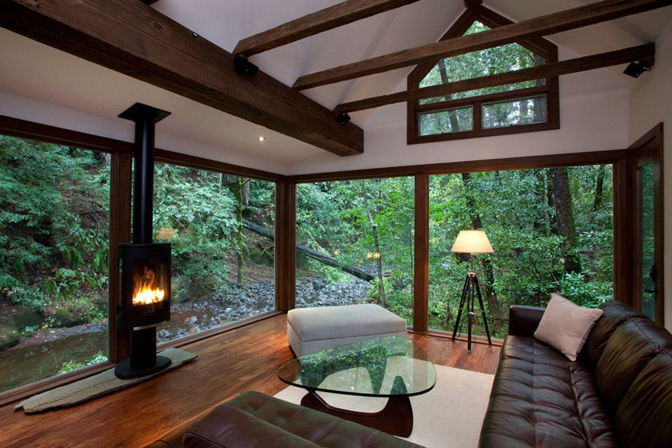 Interior Design Cabin In The Woods Forest Home Living Space Fireplace Laminated Wooden Floor Glass Wall Table Sofa Room Ideas Decorations D