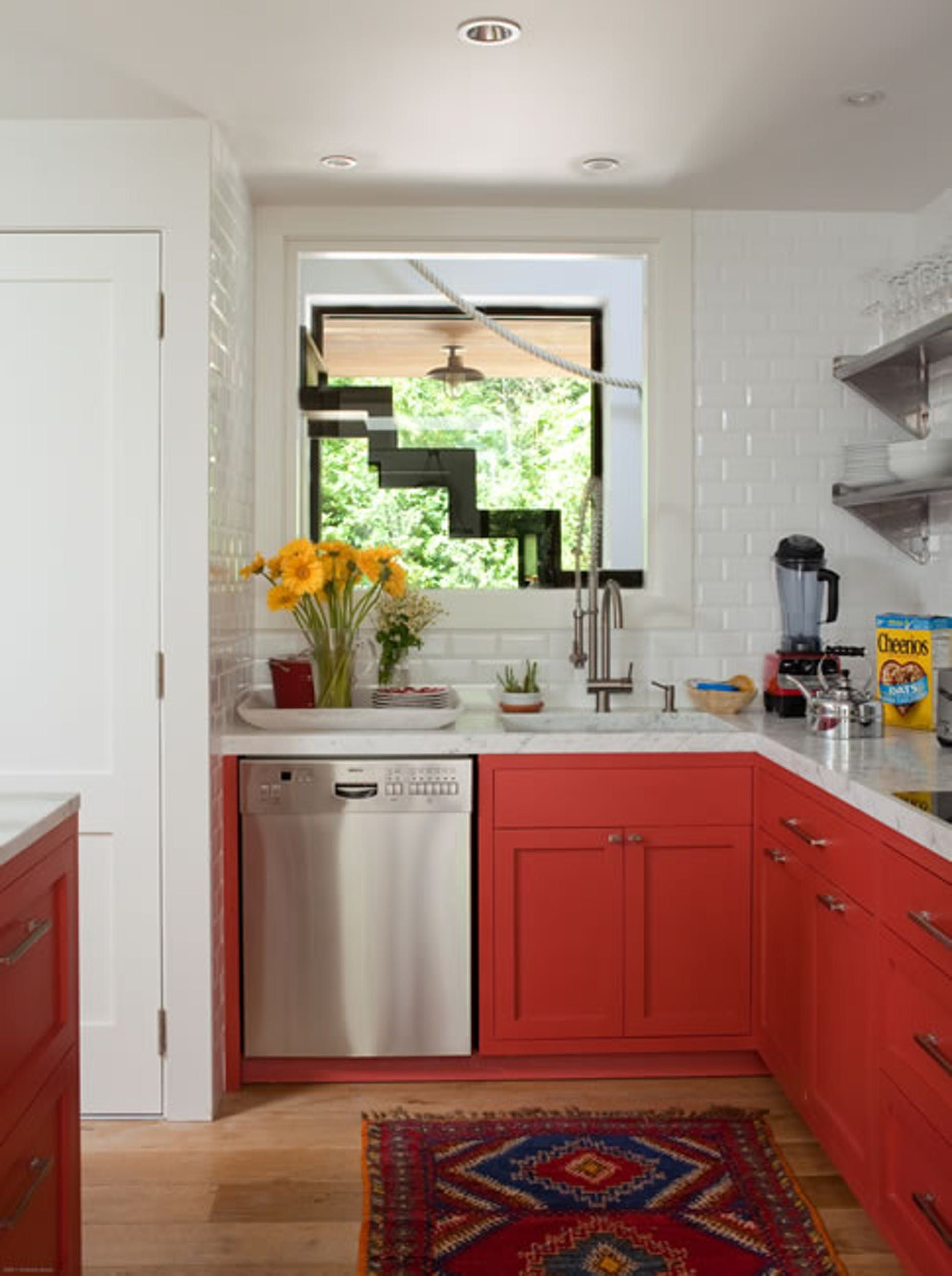 Red Lower Cabinets Brighten Up This Small Kitchen Red Kitchen