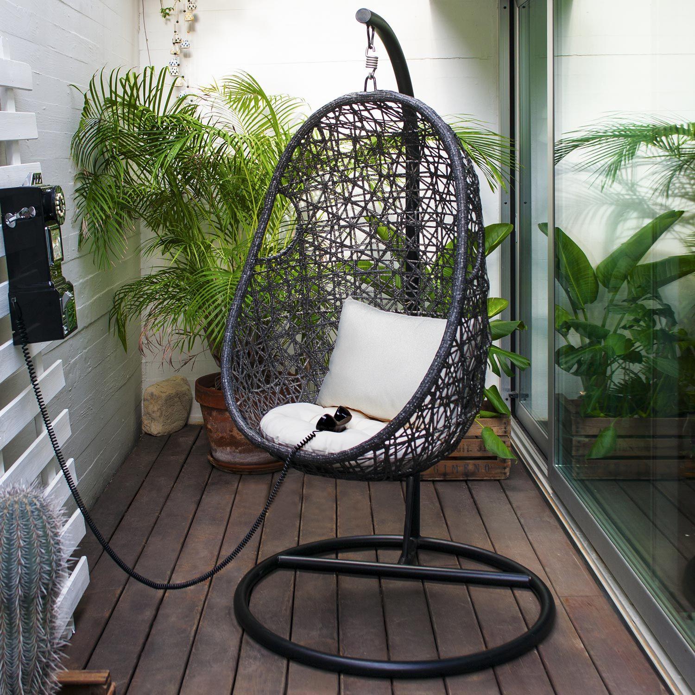 Balancelle de jardin en acier Suspendue noir et blanc en ...