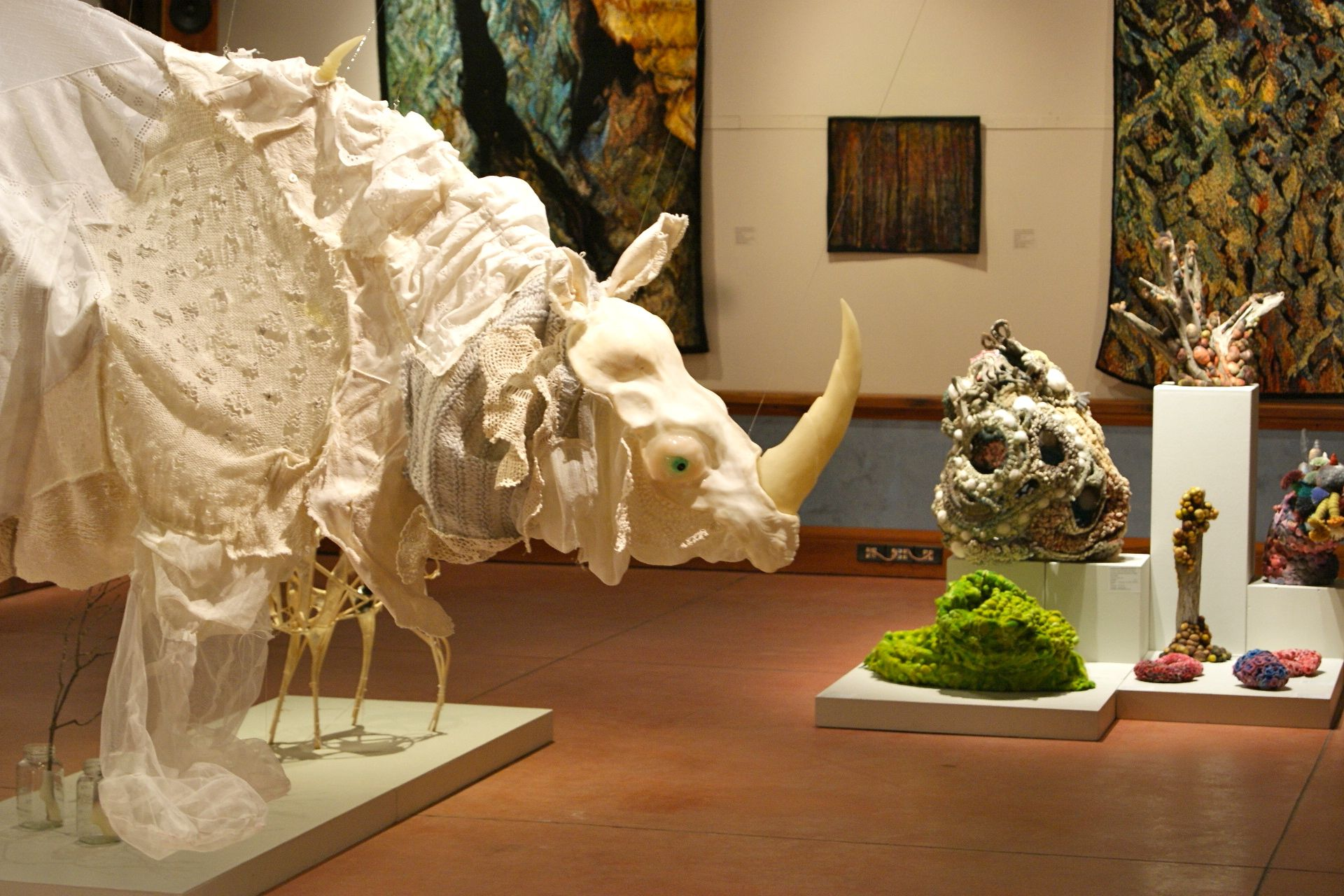 "#Art: #WOTFestival - Installation view ""De rerum natura"" exhibition of fibre art, World of Threads Festival. Photo: G Bate"