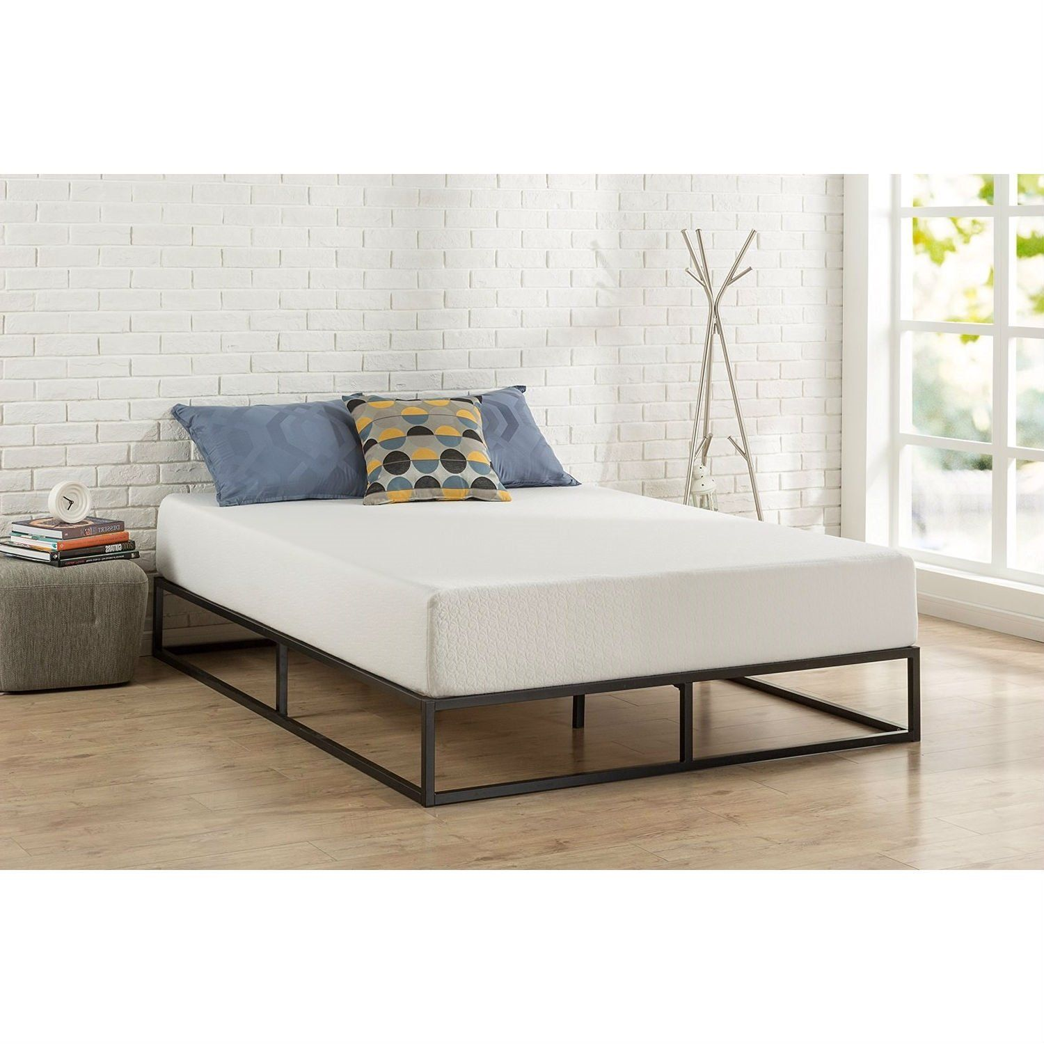 Queen Size Modern 10 Inch Low Profile Metal Platform Bed Frame