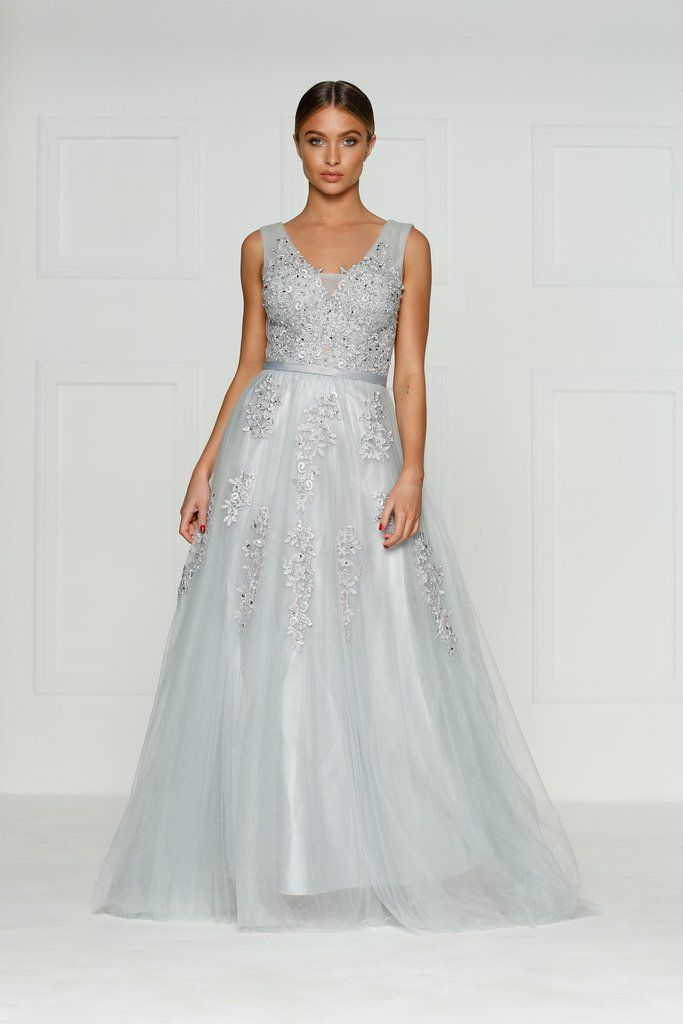 A&N Louis Princess Ball Gown - Grey | Grey gown, Ball gowns and Gowns