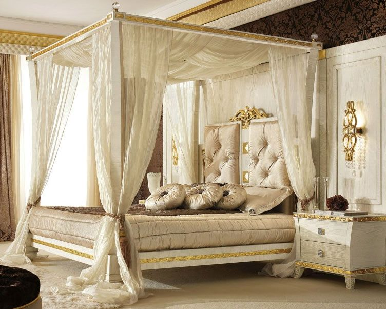Queen Canopy Bed Wooden Curtains Bedroom Sets Cozy