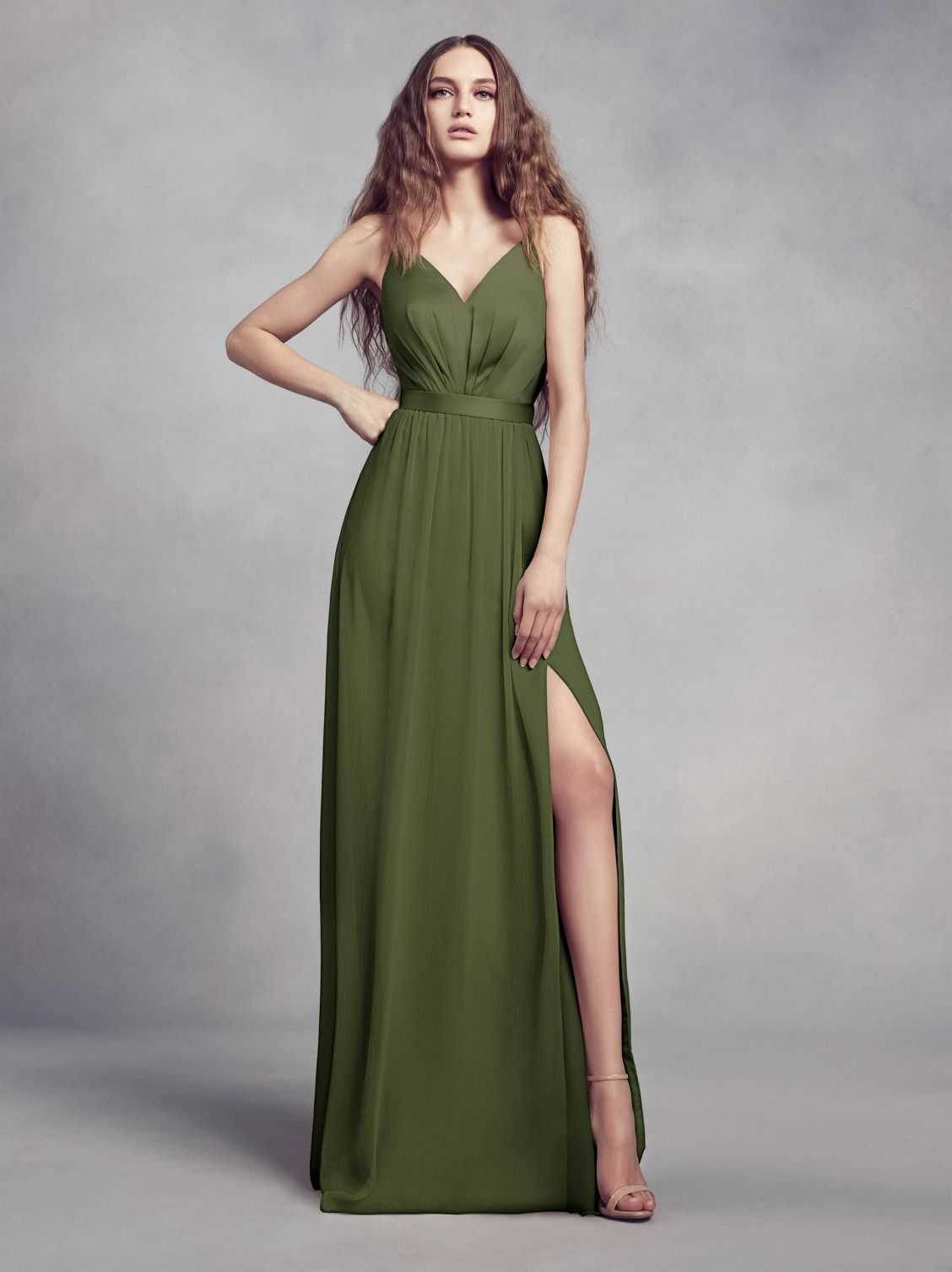 The newest color from Vera Wang an olive bridesmaid dress for the