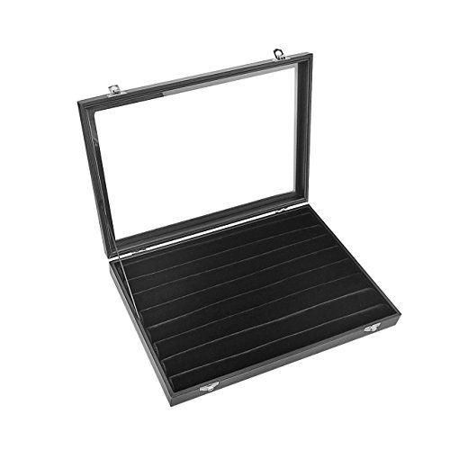 Sortwise Black 7 Line Slot 35cm Full Velvet Glass Top L Https Www Amazon Ca Dp B012adkf2w Ref Cm Sw R Pi Dp X Qhe Wooden Case Display Boxes Jewelry Tray
