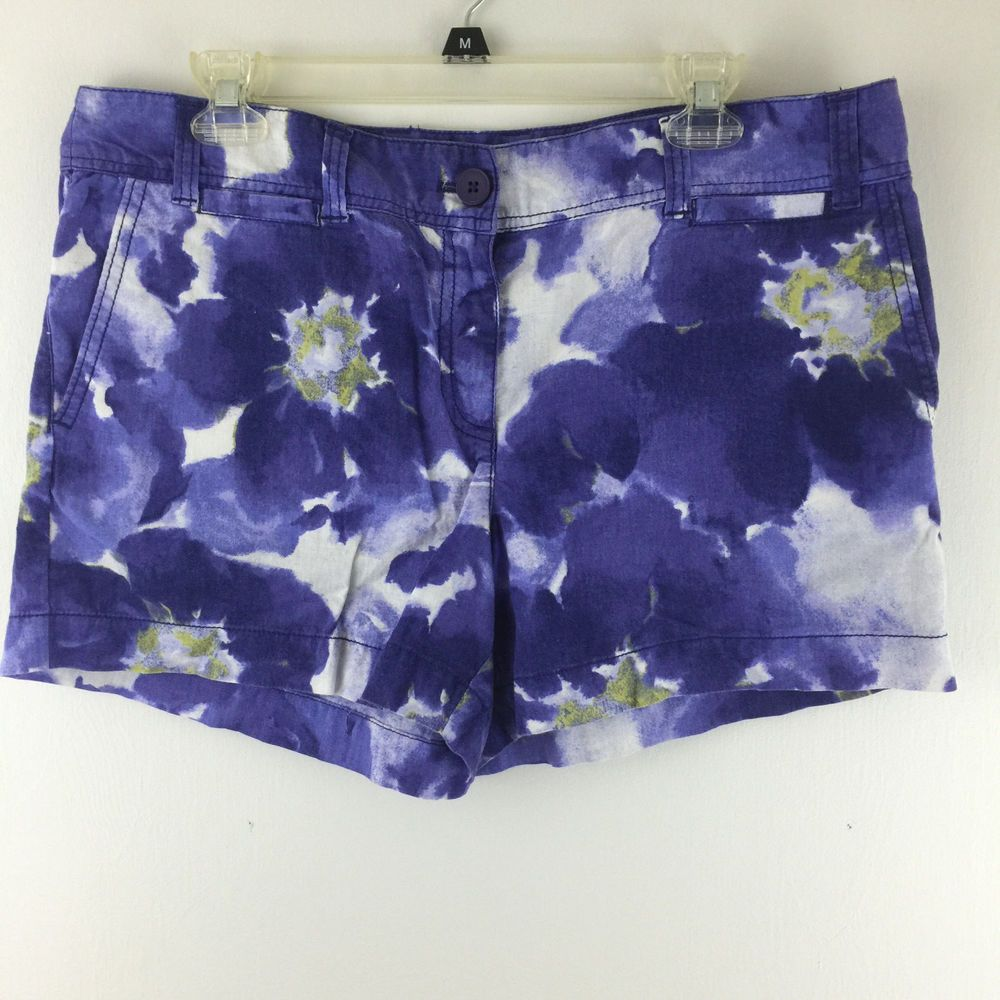 Ann Taylor LOFT M 10 Original Shorts Linen Cotton Blue White Floral ...