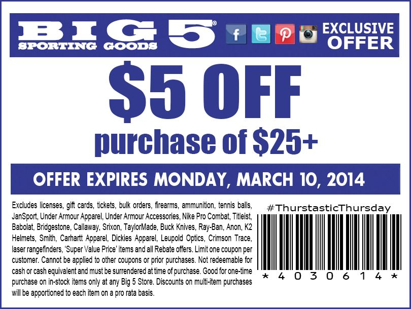 picture regarding Big 5 Coupon Printable called Huge 5 Carrying Products: $5 off $25 Printable Coupon Discount codes