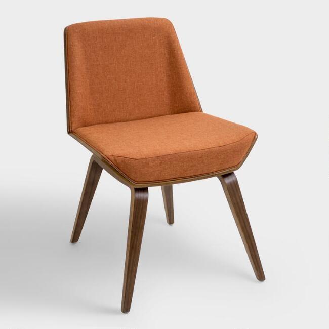 Orange Mid Century Joel Upholstered Dining Chair V1 Mid Century Modern Accent Chairs Modern Chair Fabric Mid Century Modern Chair