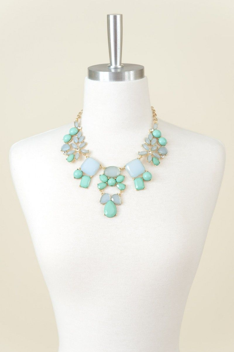 Tea For Two Necklace-Mint - Jewelry | The Red Dress Boutique