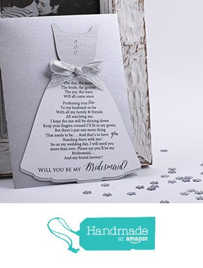 Will You Be My Bridesmaid Proposal Card, Asking Bridesmaids, Be my Bridesmaid Invitation in Dress Shape in Silver and Ice White - with matching metallic Envelope from XOXOKristen http://www.amazon.com/dp/B0187UF4NW/ref=hnd_sw_r_pi_dp_hBDWwb1FAA15W #handmadeatamazon