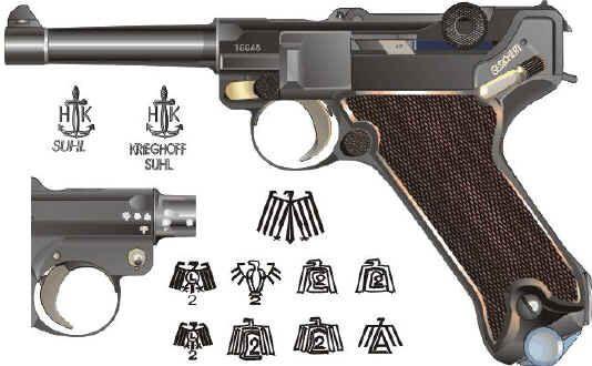 Krieghoff Luger proof markings  | Guns | Armas