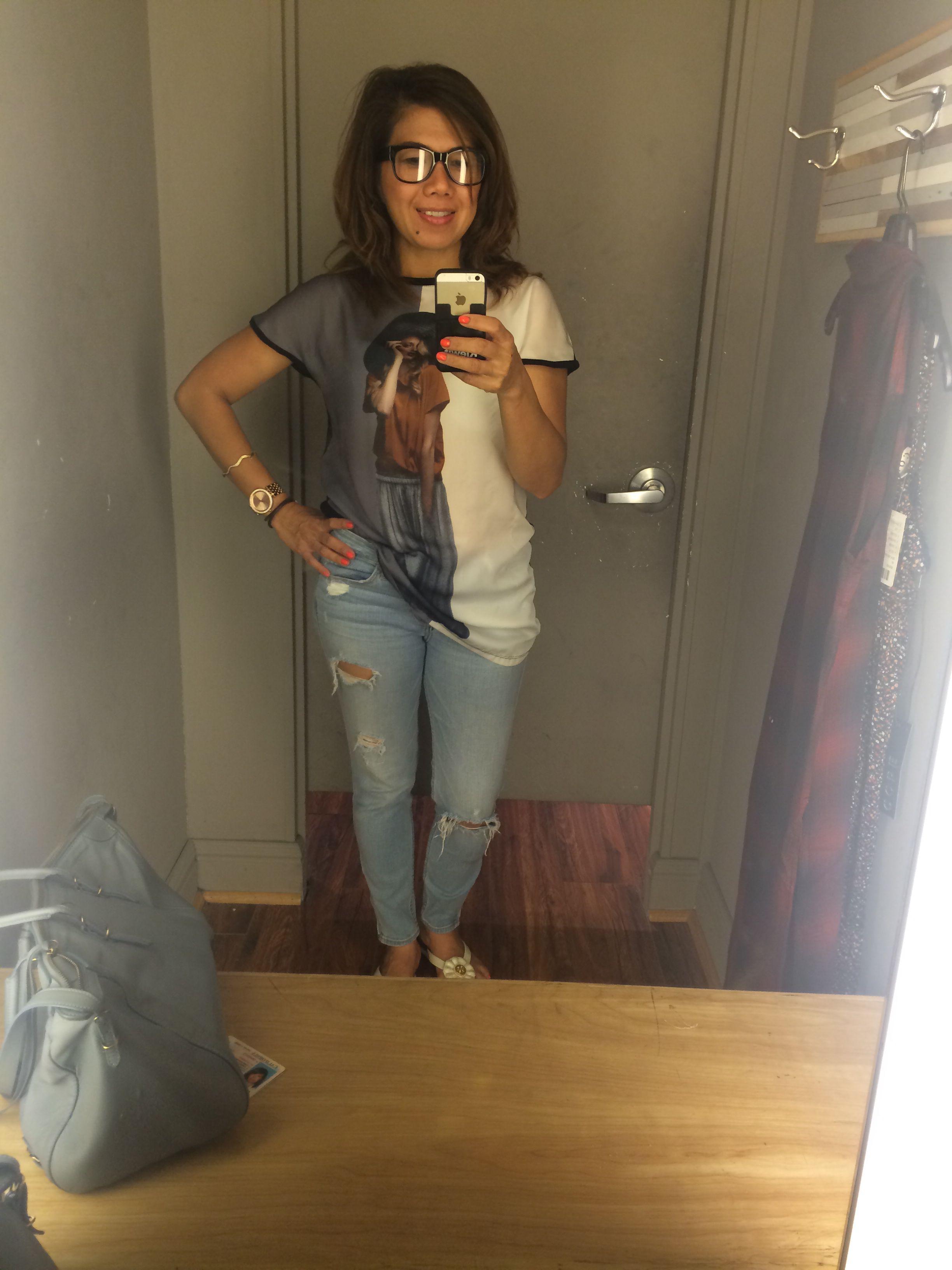 Glasses ,denim,shirt