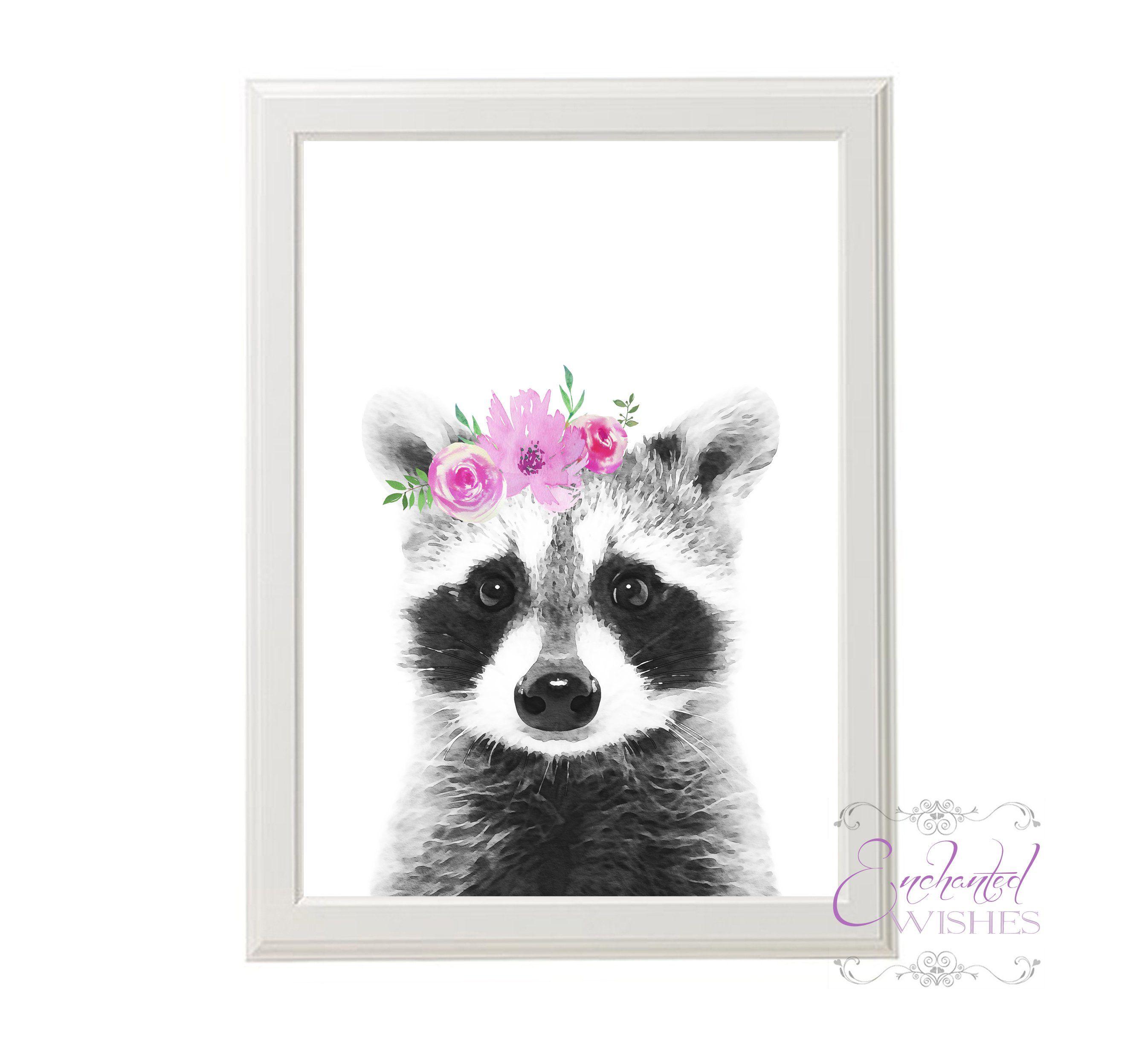 Grey Pink Floral Raccoon Watercolour Print Watercolor Print