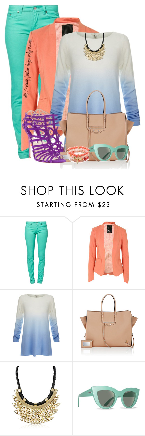 """~  Pastel Colors Block  ~"" by pretty-fashion-designs ❤ liked on Polyvore featuring Element, Denham, Joie, Brian Atwood, Balenciaga, Billabong and Good Charma"