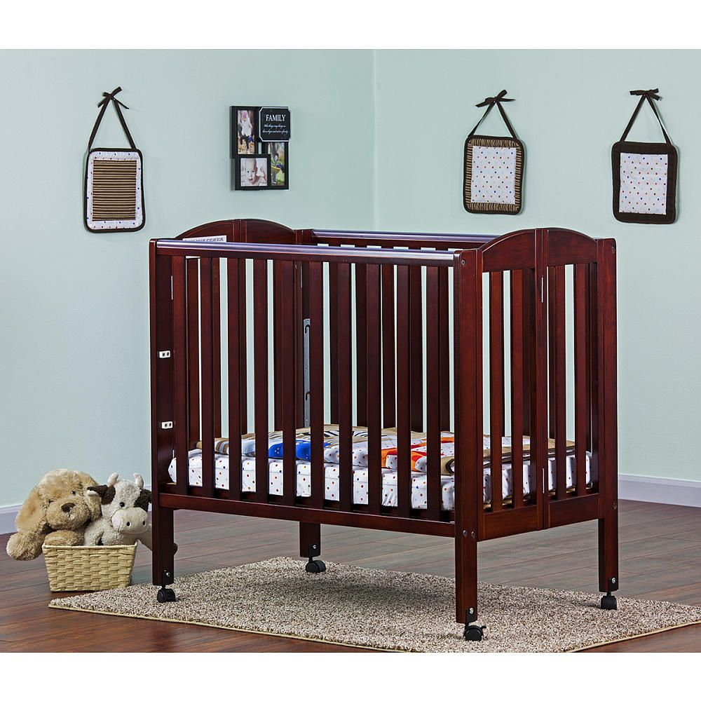 Dream On Me 3 In 1 Portable Folding Convertible Crib Cherry Portable Crib Portable Baby Cribs Cribs