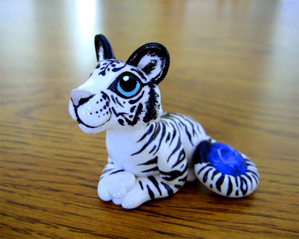 White Tiger With Sapphire By Dragonsandbeasties On