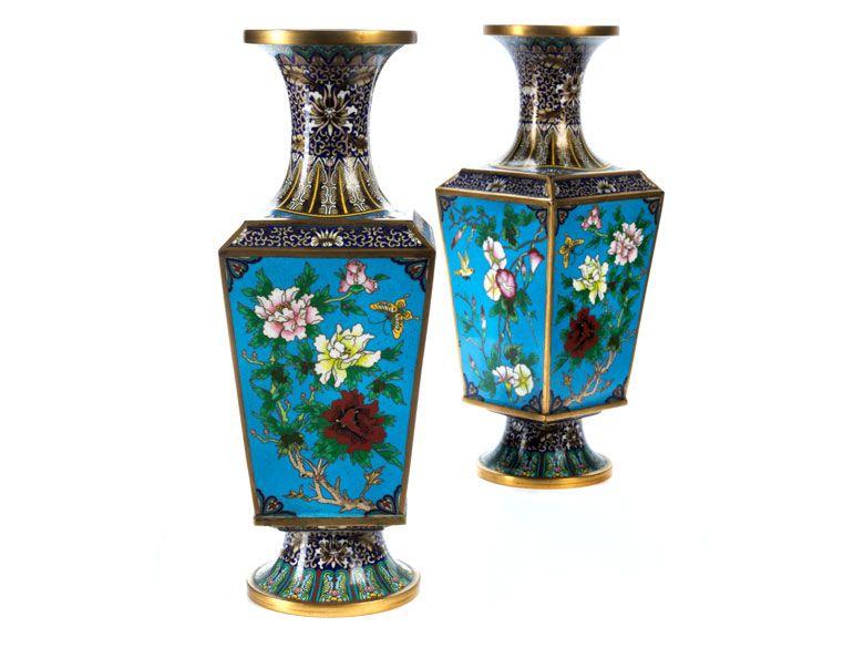 paar gro e cloisonn vasen h he inkl stand 30 5 cm. Black Bedroom Furniture Sets. Home Design Ideas