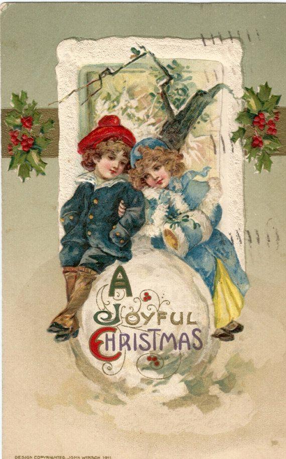 Antique 1910 Christmas postcard children snow by BigGDesigns