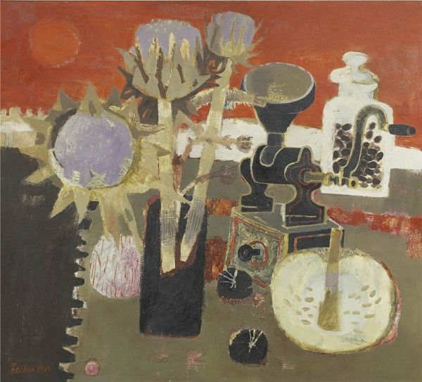 Mary Fedden, Still life with artichoke and coffee grinder