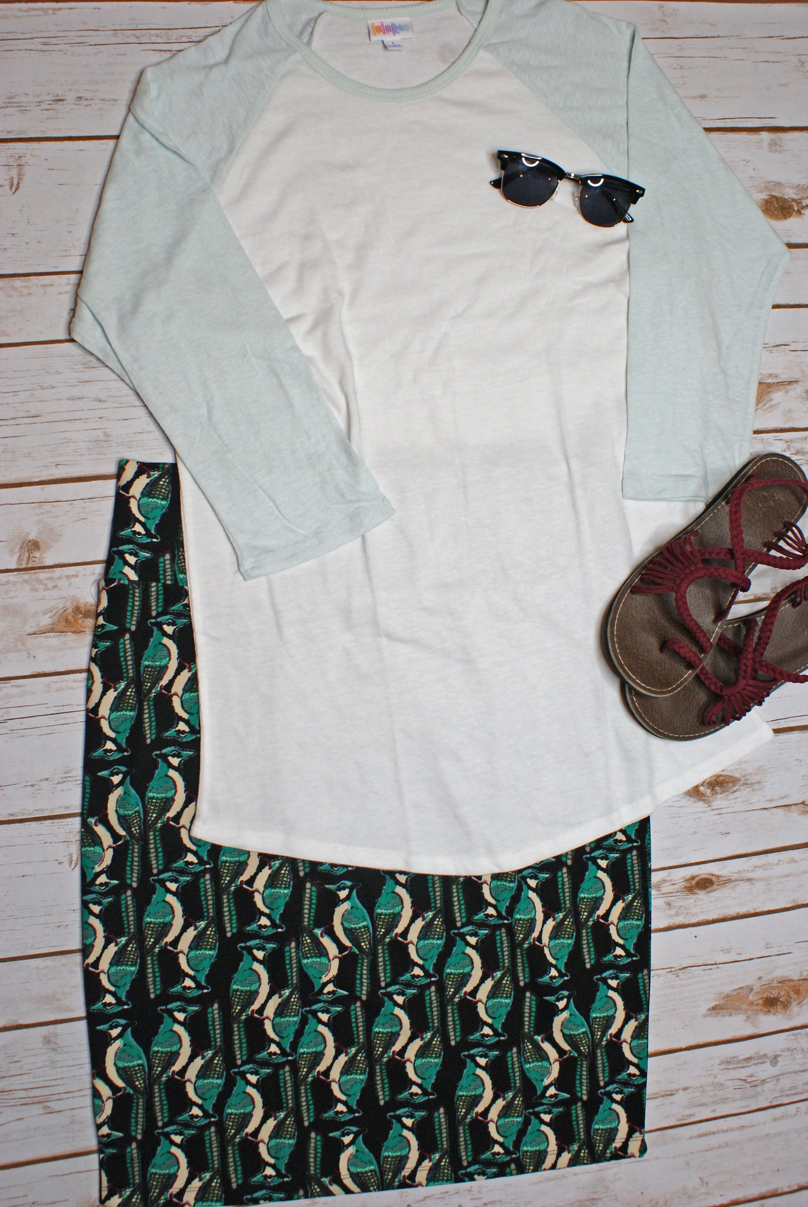 Green t shirt dress outfit  mint and white LuLaRoe Randy  black and teal mocking bird Cassie