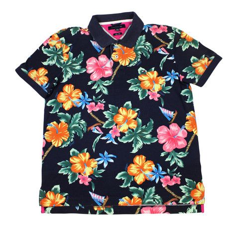 f63a2fcd Tommy Hilfiger Floral Print Hawaiian Polo Shirt Mens Size Large (Slim Fit)