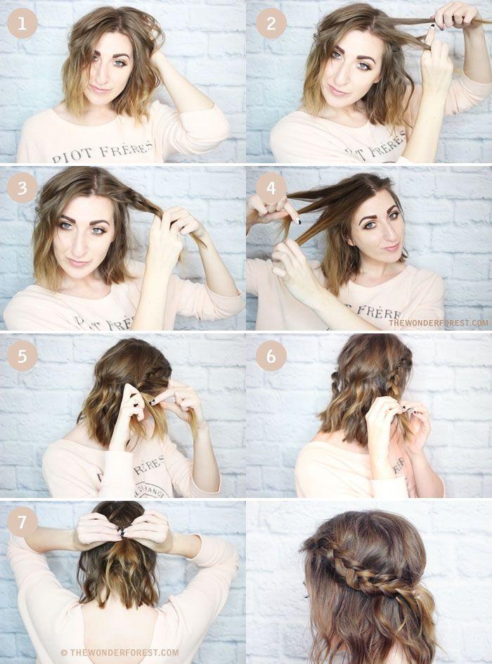 Messy Braided Crown For Shorter Hair Tutorial Pics Short Hair Styles Hair Styles Medium Length Hair Styles