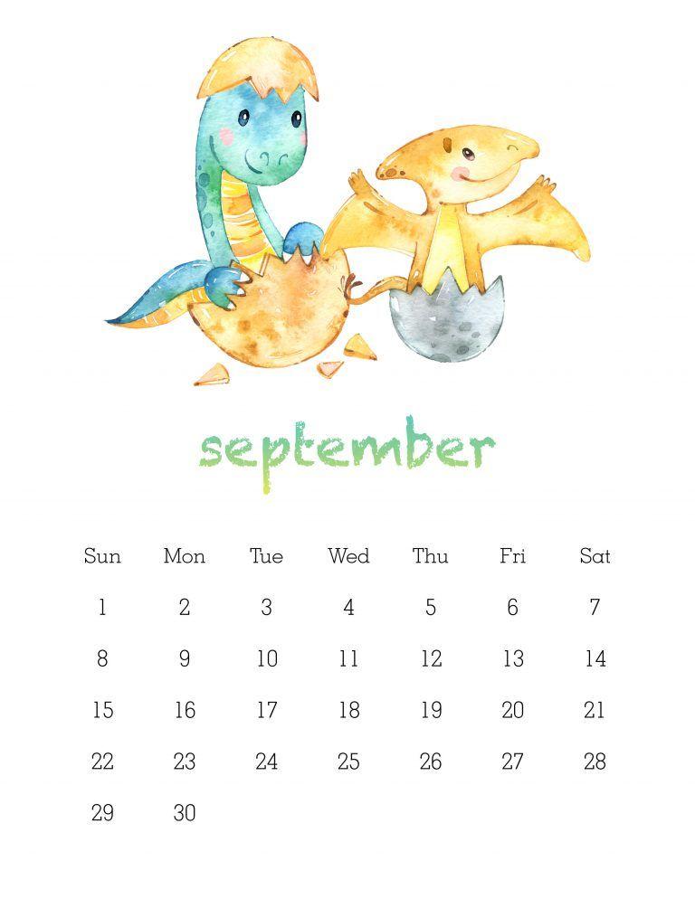 Free Printable 2019 Watercolor Dinosaur Calendar The Cottage Market Kids Calendar Dinosaur Printables Memory Book Diy