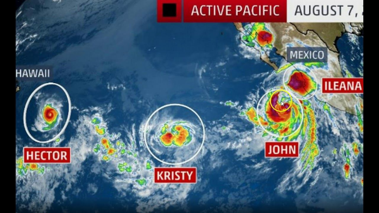 Unusual Activity Four Named Tropical Cyclones Swarm The Pacific Ocean Youtube Weather Hurricane Global Weather Pacific Ocean