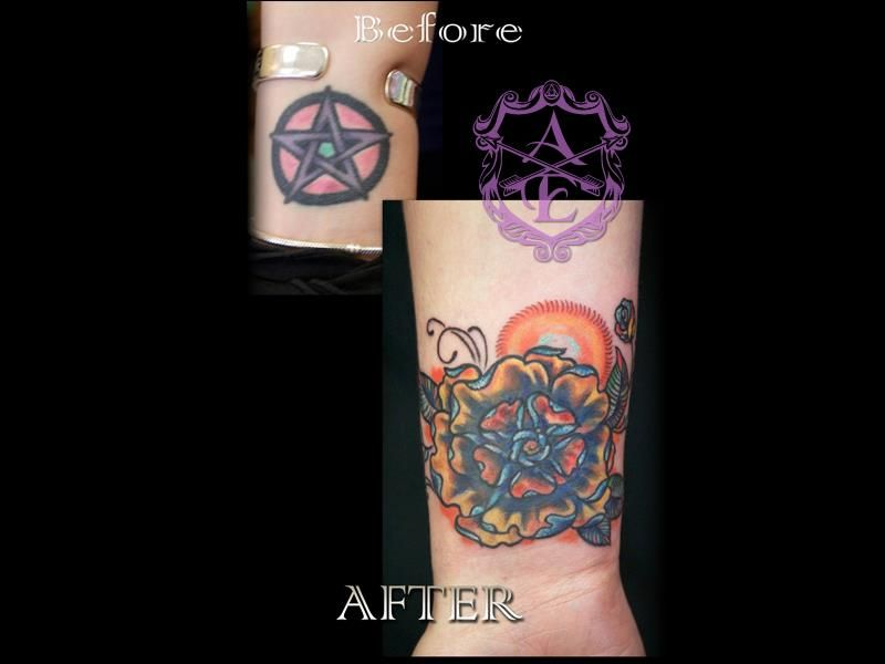 Pentagram Cover Up Tattoo Done By Sean Ambrose At Arrows And Embers