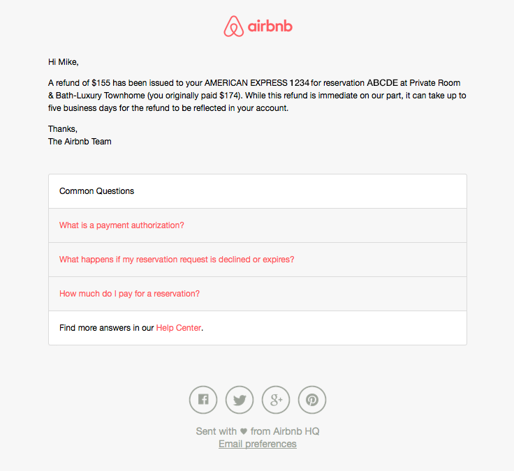 Airbnb Sent This Email With The Subject Line Airbnb Payment