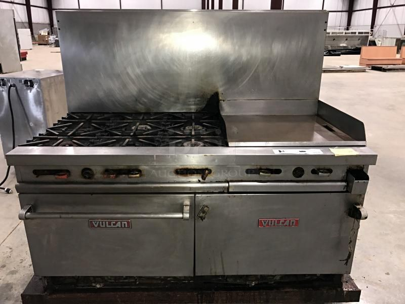 Vulcan Stainless Steel 6 Burner Stove Double Oven Amp Flat