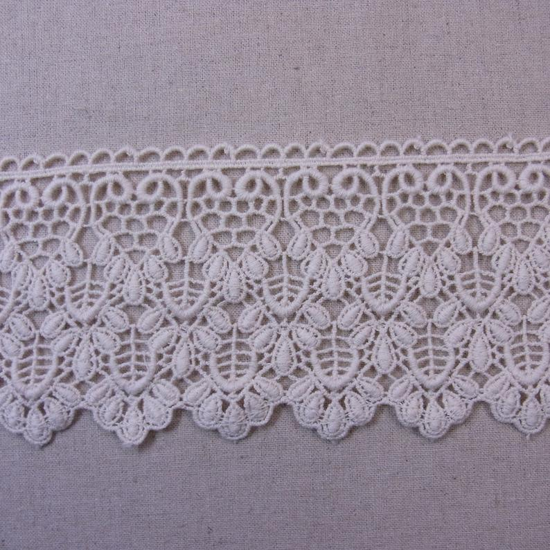 Lovely Embroidered Lace Trim Cotton Crochet DIY Sewing Craft Ivory 8cm(3.2) Wide 1Yd #2398