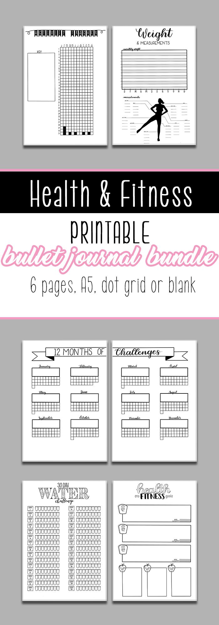 #printables #printable #journals #fitness #journal #health #bullet #bundle #pages #track #goals #kee...