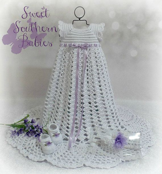 Baptism Dress  Snow White with Lavendar by SweetSouthernBabies