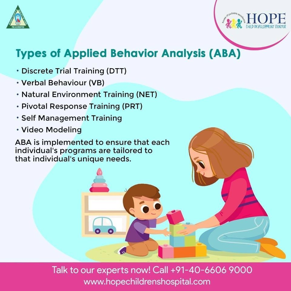 Here are the types of ABA therapy. Meet our experts for more details #childrenshospital #childrenshealth #healthykids #babyhealth #toddlerhealth #childhealth #pediatrics #healthychild #kidshealth #pediatricsurgery #generalpediatrics #hopechildrenshospital