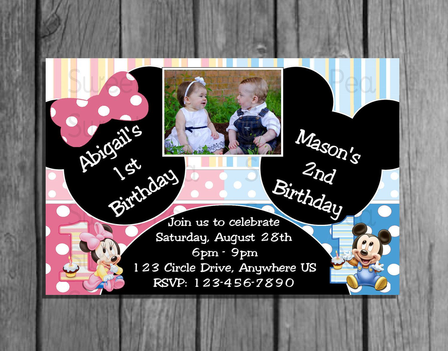 Baby Mickey & Minnie Mouse Boy Girl, Girl Girl and Boy Boy 1st ...