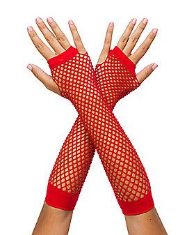 fb14cd9df Add some flash to your look with the Red Fishnet Arm Warmer.   SpiritHalloween