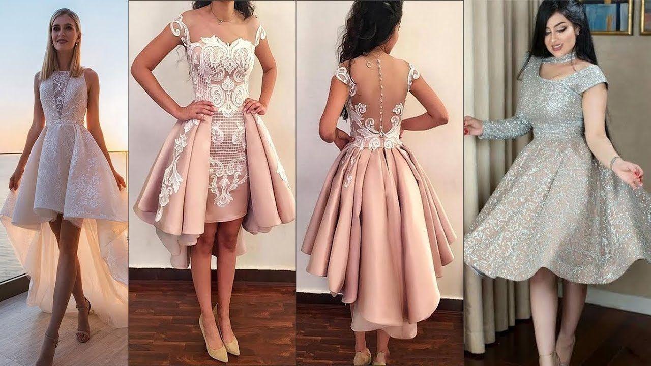 شاهدى فساتين سهرة قصيرة موديلات روعة 2019 لأناقتك في مناسبات بكل الالوان Senior Prom Dresses Dresses Grey Prom Dress