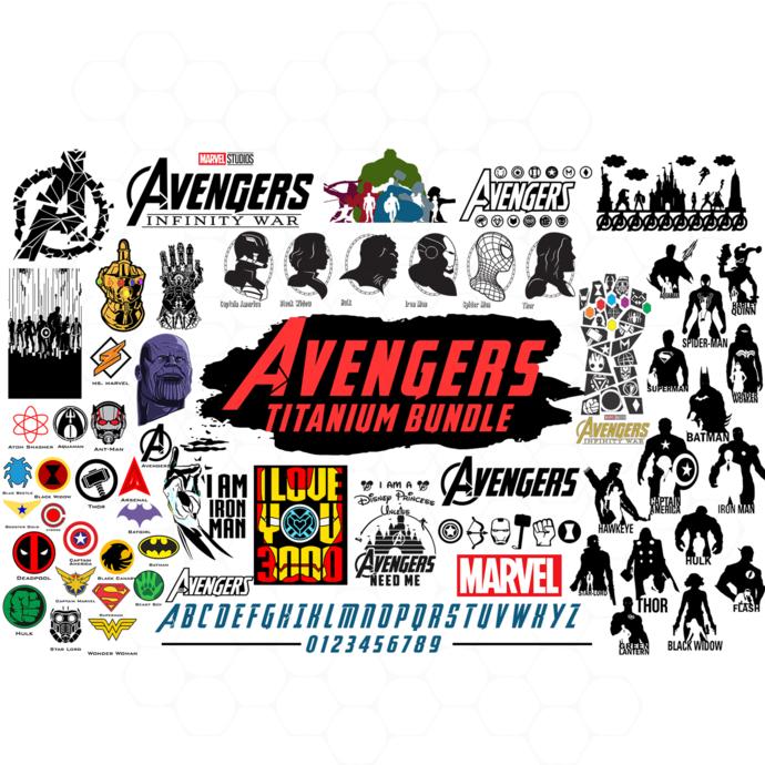 Avengers titanium bundle svg, avengers endgame bundle