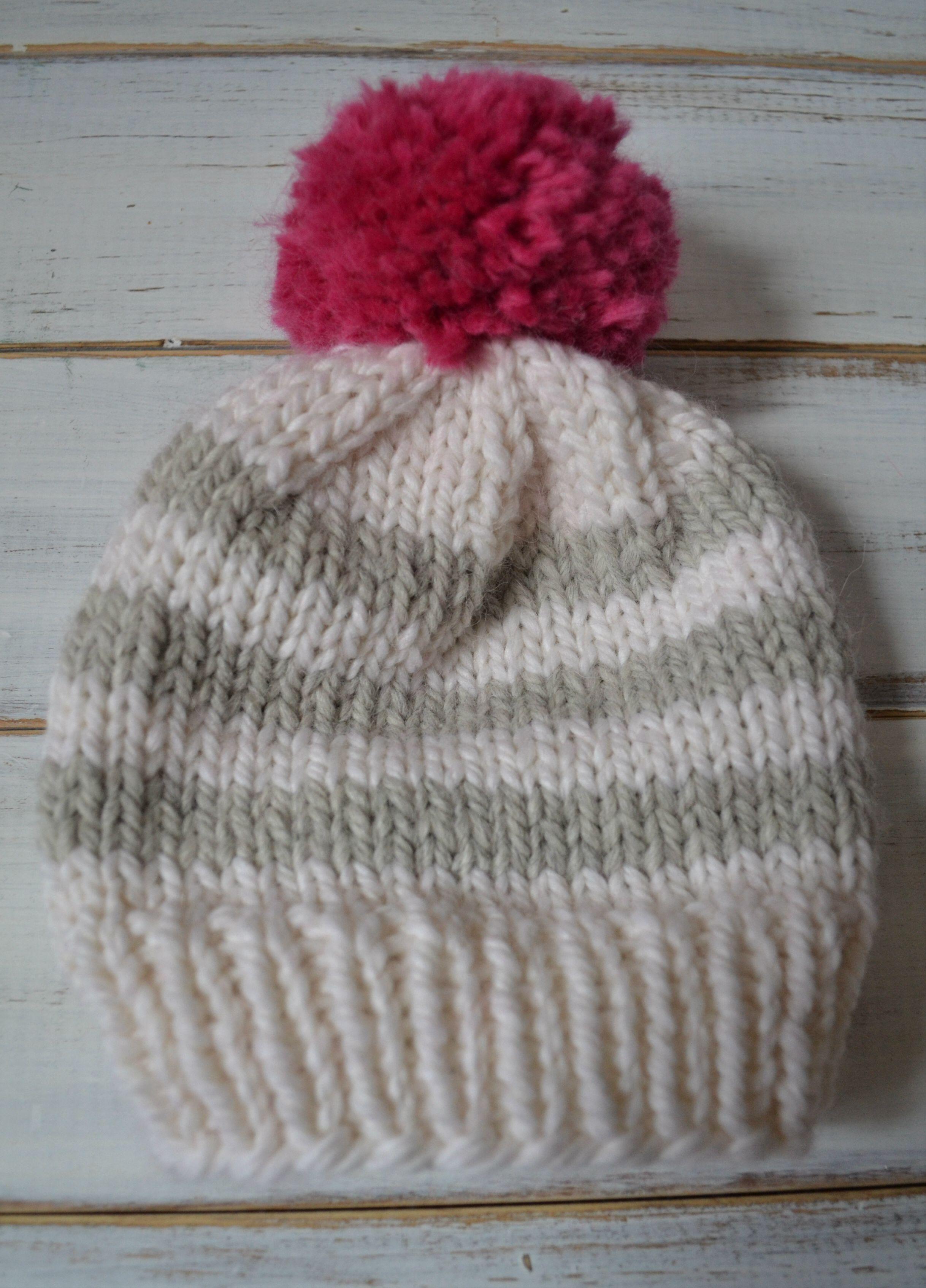 Easy baby knitted beanie pattern. | knitting | Pinterest