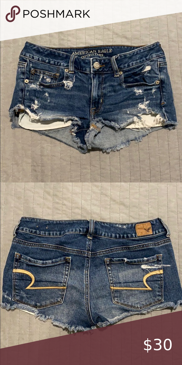 AmericanEagle Denim Shorts Medium wash distressed denim. Shortie style. American Eagle Outfitters Shorts Jean Shorts