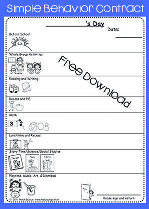 Classroom Management Techniques in Kindergarten that WORK - sample behavior contract