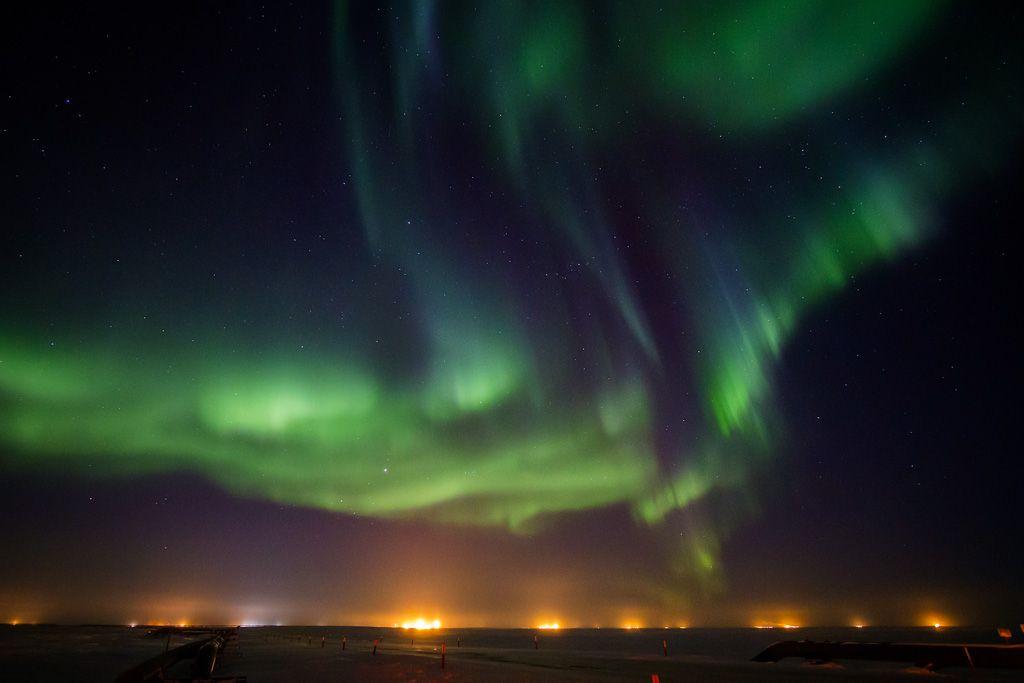Auroras boreales desde la bahía Prudhoe, Alaska