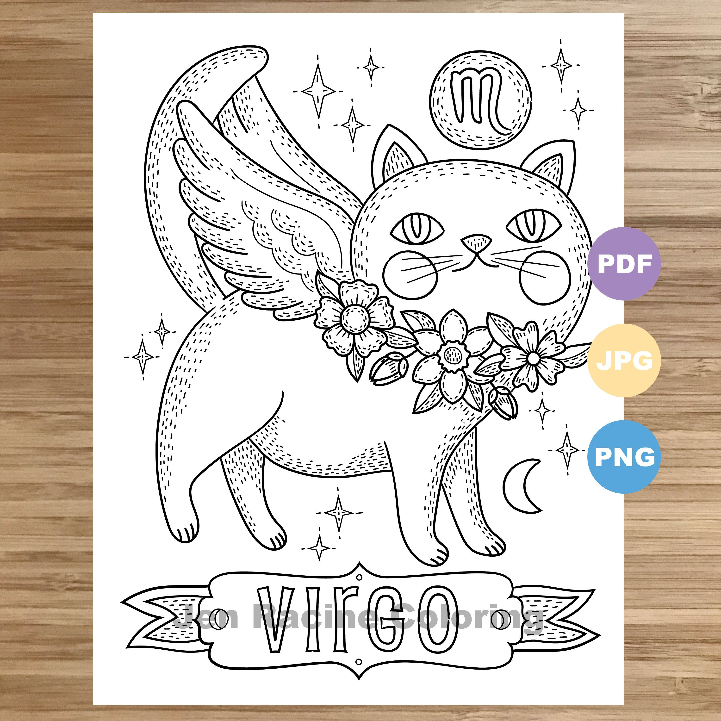 Pin On Astrology Cats Coloring Book