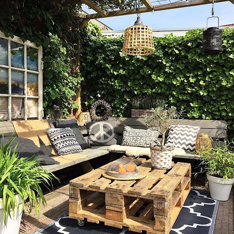 Ideas Para Decorar Tu Jardín Patio O Terraza Con Palets Decoración De Patio Exterior Decoración De Patio Diseño De Terraza