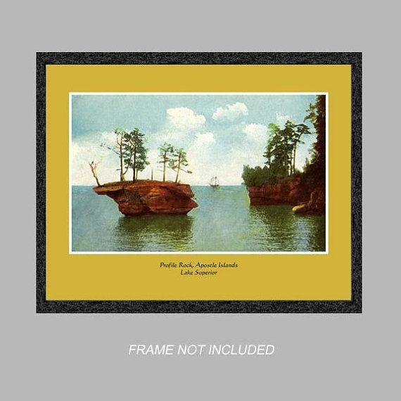 Postcard Wall Art - Profile Rock - Apostle Island - Lake Superior ...