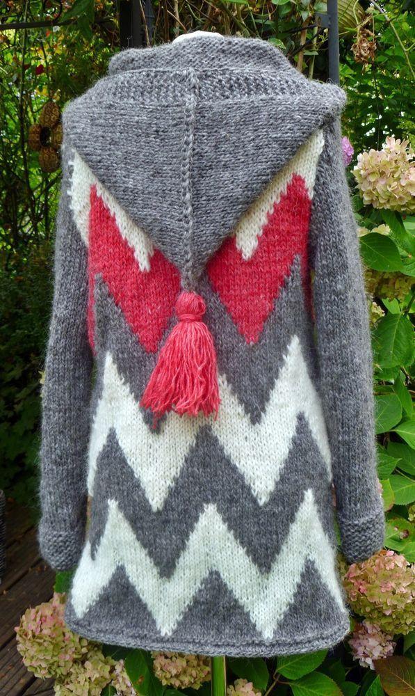 Elegant Strickmantel Aus Islandwolle Mit Zipfelkapuze**M***Unikat**Handmade